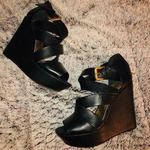 5 inch Heel Strappy Black Wedges 8.5